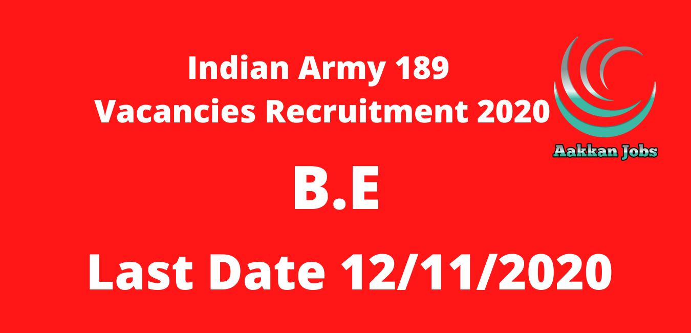 Indian Army 189 Vacancies Recruitment 2020
