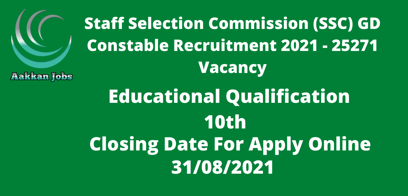 Staff Selection Commission (SSC) GD Constable Recruitment 2021